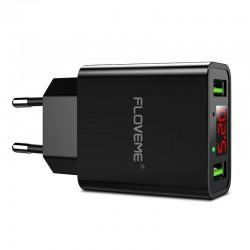 Smart dual USB - Led digital charging adapter for iPhone Samsung Xiaomi - EU plug