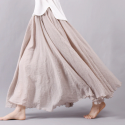 Linen cotton long skirt with elastic waist