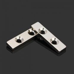 N35 starker Neodym-Magnetblock 40 * 10 * 4mm - versenkt mit 2 Löchern 2Stücks