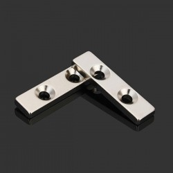 N35 sterke neodymium magneetblok 40 * 10 * 4mm - verzonken met 2 gaten 2 stuks