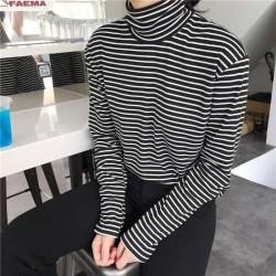 Vrouwen Coltrui Koreaanse Stijl T-shirt Harajuku Top Lange Mouwen Gestreept Tops vrouwelijke t-shirt