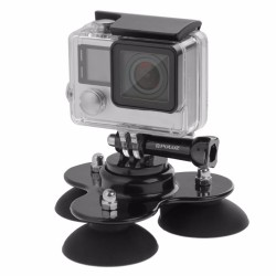 Practical Gopro Low Angle Removable Triple Suction Cup Mount Holder For Hero 3+ 3 2 1 Tool
