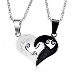 Vnox 2 pcslots amour coeur Couples collier pendentif en acier inoxydable Bestfriend bijoux pour hom