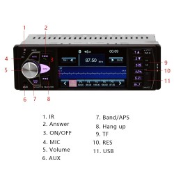 Bluetooth 1-din car radio - 4 inch display - mp3 mp5 FM audio stereo - support rear camera