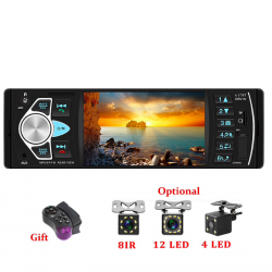 Bluetooth autoradio - din 1 - 4 inch display - MP3 / MP5 - achteruitrijcamera - stuurafstandsbediening
