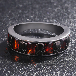 Unisex crystal red retro gothic skull rings