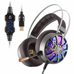 NiUB5 PC65 glowing gaming headset - 3D USB 7.1 PS4 headphones with noise canceling