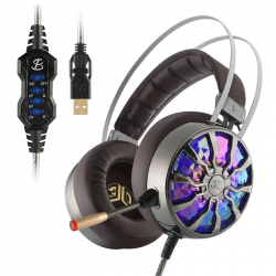 NiUB5 PC65 Gloeiende Gaming Headset Bass stereo 3D Meeslepende USB 71 Surround Sound Shock PS4 Hoof
