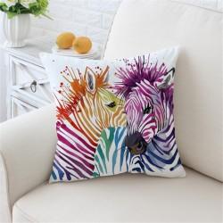 Colorful safari zebras - cushion cover