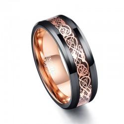 Buitenlandse Handel Koolstofvezel Exquisite Rose Gold Dragon Mannen Ringen 100 Tungsten Carbide Ani