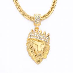 Luxury chunky gold punk lion head pendant necklace