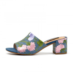 Donna-in marque 2019 t femmes tongs plage Peep Toe talons hauts brods diapositives sandales mode
