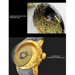 Luxury waterproof watch with dragon sculpture