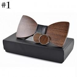 Fashion wooden bow tie & cufflinks - set