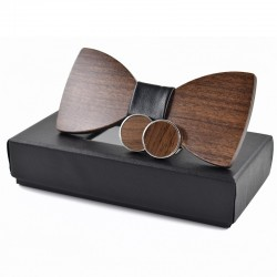 Fashionable wooden bow tie & cufflinks - set