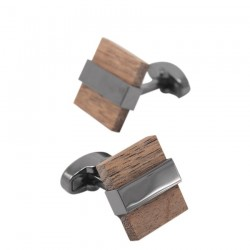 Modieuze houten vierkante manchetknopen