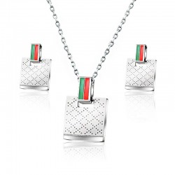 Square earrings & necklace - silver - stainless steel jewelry set