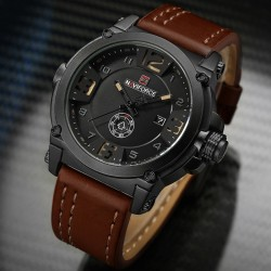 Naviforce - sport quartz watch with leather band - waterproof