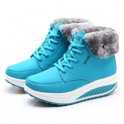 Winter ankle boots - fur - wedge sole