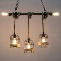 Retro ijzeren hanglamp met hand gebreid touw - lichten in kooi