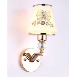 LED wall lamp - single & double head - gold crystal