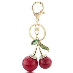 Crystal red cherries - keychain