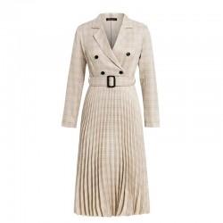 Vintage pleated plaid dress with belt