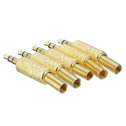 """1/8"""" 3.5mm gold plug coax cable - professional male audio adapter connector solder 5 pieces"""