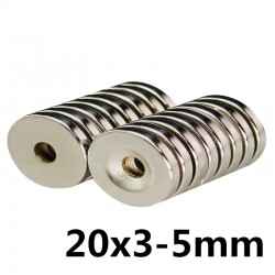 N35 neodymium magnet - super strong round ring 20 * 3 * 5mm 10 pieces