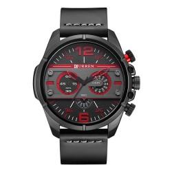 Luxury leather sports quartz watch