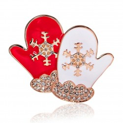 Gants de Noël - broche en cristal