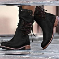 Winter boots with back lacing & zipper