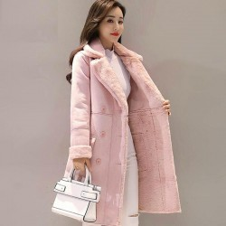 Fashion winter suede coat - sheepskin long jacket