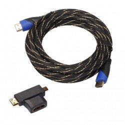 HDMI male to male video cable - HDMI to micro HDMI mini HDMI with mini adapter - audio extension cable 5m
