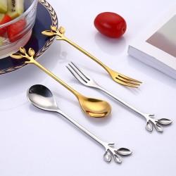Bladvormig handvat - theelepel & vork voor thee - koffie & desserts