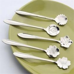 Decoratieve zilveren theelepel - koffie & desserts 5 stuks