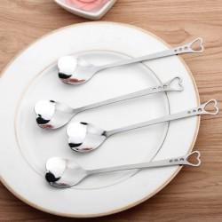 Cuillères à thé en acier inoxydable en forme de coeur pour thé, café et desserts 10 pièces