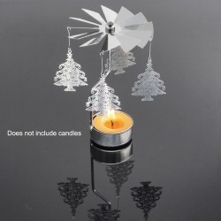 Candle holder with rotating pendants - owls - stars - trees - butterflies