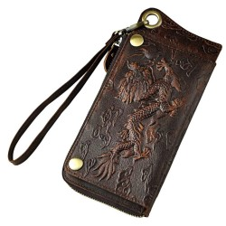 Dragon design - multifunction leather wallet with strap & zipper