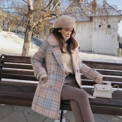 Manteau d'hiver en laine à la mode avec col en fourrure