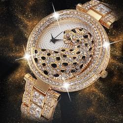Luxury gold quartz watch with diamonds & leopard