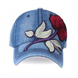 Jeans baseball cap with red rose