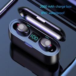 Ecouteur Bluetooth V5.0 F9 TWS sans fil - Afficheur LED - Banque de puissance 2000mAh - Casque avec microphone