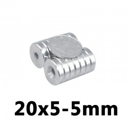 N35 neodymium verzonken magneetring - 20 * 5 - 5 mm gat - 5 stuks