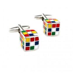Boutons de manchette avec des cubes colorés