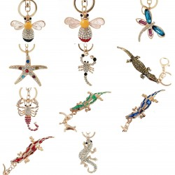 Crystal crocodile & starfish & bee - keychain