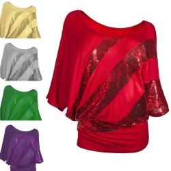 Shiny sequin shirt - short sleeve top