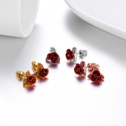Gold stud earrings with red rose
