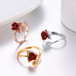 Gold & silver ring with red rose - adjustable