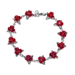 Gold & silver bracelet with red roses